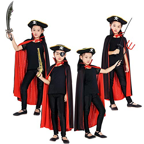 Tofree Halloween-Kostüme für Jungen und Herren, mit Kragen und Totenkopf, Rot/Schwarz Hood 90cm
