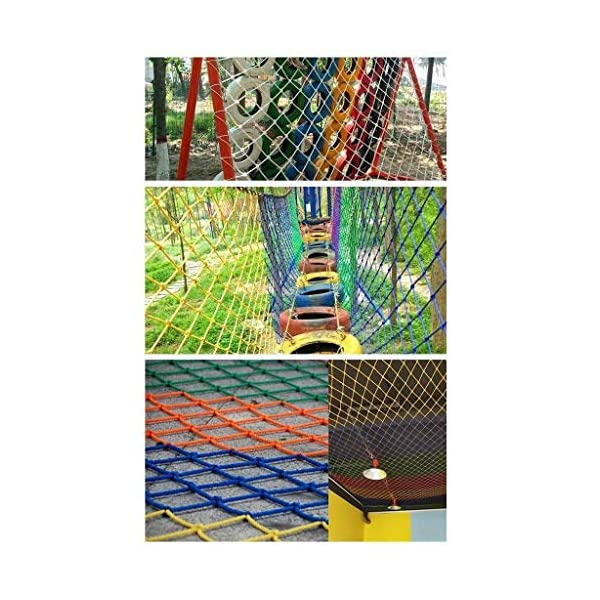 Safety net children's fall protection stairs safety net kindergarten garden playground ceiling decoration net cat net rock climbing hammock swing (Size : 10 * 10M(33 * 33ft))  ◆ Safety net wire diameter 6MM, mesh spacing 10CM.Color: Color rope net.Our protective mesh can be customized according to your needs. ◆Protective net material: Made of nylon braided rope, hand-woven, tightened.Exquisite workmanship, solid and stable, can withstand 300kg weight impact. ◆Features of decorative net: soft material, light mesh, multi-layer warp and weft, fine wiring, fine workmanship; clear lines, non-slip durable, anti-wear. 5