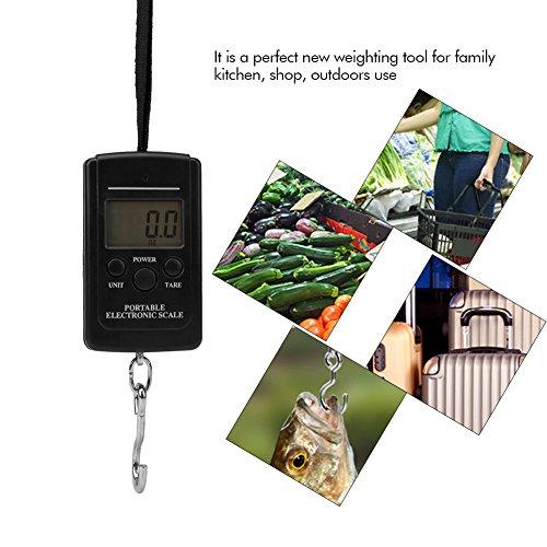 Acogedor Kofferwaage Tragbare elektronische Digitale Waage Koffer Maßstab Hängewaage Gepäck Gewicht mit Tara-Funktion für Reisen Outdoor Home. 40kg Fassungsvermögen -