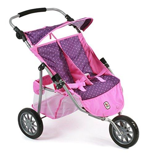 Bayer Chic 200069740–DE Gemelos Jogger, Zwilling Carro para muñecas de hasta 50cm, Dots Purple Rosa