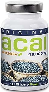 Acai Beeren Kapseln Intensiv 48000 - Original Acai Berry 30:1 Extrakt Hochdosiert aus Brasilien - Ohne Magnesiumstearate - 120 Vegane Kapseln von GloryFeel