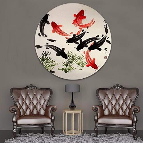 Juabc Kunst Dekoration 1 Stück Runde Stil Kunst Koi Fisch Leinwand Malerei Moderne Dekoration Hd Druck Typ Bild Für Wohnzimmer Wand 50X50 cm (Koi Fisch-wand-kunst)