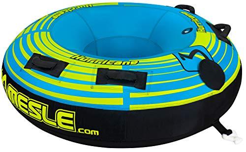 MESLE Tube Hurricane 58'' blau, Towable-Tube, Fun-Tube, 147 cm Donut Wasser-Ring, 1-2 Personen, blau-grün, komplett umhülltes 840 D Nylon, Tube, verstärkte Zugvorrichtung, Boston Ventil -
