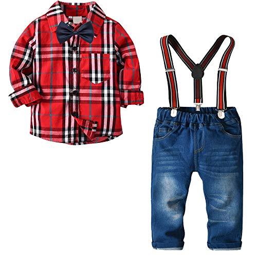 8f40c4a26 Niño Camisetas de Manga Larga y Pantalones Jeans de Traje Blazers y Trajes  Esmoquin Ropa Rojo