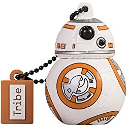 Tribe Disney Star Wars BB8 Chiavetta USB da 16 GB Pendrive Memoria USB Flash Drive 2.0 Memory Stick, Idee Regalo Originali, Figurine 3D, Archiviazione Dati USB Gadget in PVC con Portachiavi