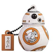 Idea Regalo - Tribe Disney Star Wars BB8 Chiavetta USB da 16 GB Pendrive Memoria USB Flash Drive 2.0 Memory Stick, Idee Regalo Originali, Figurine 3D, Archiviazione Dati USB Gadget in PVC con Portachiavi - Multicolore
