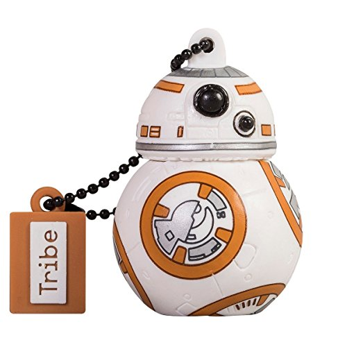 Tribe Disney Star Wars BB8 Chiavetta USB da 16 GB Pendrive Memoria USB Flash Drive 2.0 Memory Stick, Idee Regalo Originali, Figurine 3D, Archiviazione Dati USB Gadget in PVC con Portachiavi