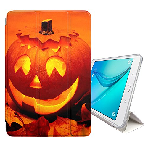 Graphic4You Halloween Allerheiligen Thema Kürbis Design Smart cover Hülle Dünn Tri-Fold Schlank Superleicht Ständer Cover Schutzhülle Tasche für Samsung Galaxy Tab E - 9.6