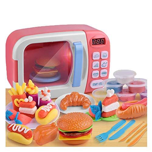 BriskyM Spielspielzeug Mikrowelle für Kinder mit Lichtern und Geräuschen, Simulationsgeräte Lernspielzeug Lebensmittel Elektronisches Küchenspielzeug für Jungen und Mädchen (Pink, 1)
