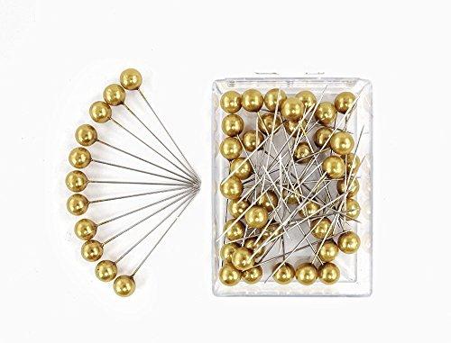 Perlen-Nadeln Deko-Nadeln Perle 10mm 50 Stück ACHTUNG! KEINE STECKNADELN (GOLD MATT)