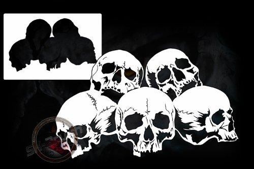 Airbrush Schablone für Schädel Skullhaufen - Totenköpfe - Skull's Kopf (Schädel Malen Schablonen)