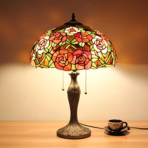 Lampen Tiffany-stil Lampen (16 Zoll Pastoral rote Rosen Luxus antike Stil Tiffany Stil Tischlampe Nachttisch Lampe Schreibtisch Lampe Wohnzimmer Bar Lampe)
