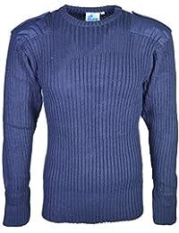 Pull pour homme de sécurité militaire Pull à col rond en tricot à manches longues -  Bleu - Medium