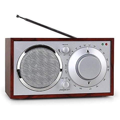 OneConcept Lausanne Boombox stereo radio vintage portatile (Tuner FM, AM, AUX, lavorazioni in legno pregiate) Ciliegia