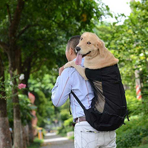 Hund Rucksack, Dog Bag Carrier Haustier für Große Mittel Kleine Hunde Atmungsaktive Reise Hundebeutel für Reiten Wandern Schwarze XL