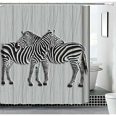 angelwings spessore poliestere impermeabile Tenda da doccia Mouldproof (182,9x 182,9cm) con zebre Pattern