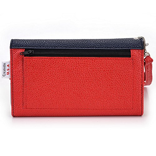 Kroo Pochette Téléphone universel Femme Portefeuille en cuir PU avec sangle poignet pour Blu Life Play X/Studio Mini LTE Multicolore - Orange Stripes Multicolore - Blue and Red