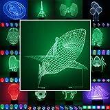 3D Lampe 3D Leuchte 3D LED Stimmungslicht. 7 Farben - 81 verschiedene Motive, hier Hai ca.20x17cm inkl.Sockel - 3D Illusion Dekolicht mit USB Anschluß und 220V USB Netzteil
