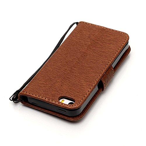 Cover iPhone 5 5s SE, Sportfun Custodia Portafoglio In Pelle Con Wallet Case Cover Per iPhone 5 5s SE con Porta Carte e Funzione Stand (06) 06