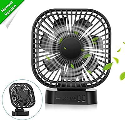 COMLIFE 4000mAh Battery Operated Desk Fan with Magnet Base, 3 Speeds with Timer, 7 Blades, Super Quiet, Powered by USB or Rechargeable Battery, Perfect Small Personal Fan for Table & Outdoor