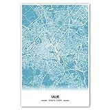 Zulumaps Poster 80x120cm Stadtplan Lille - Hochwertiger