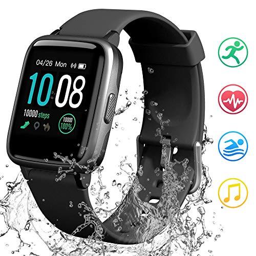 GRDE Smartwatch Bluetooth 1.3 Zoll Voll Touchscreen Fitness Armband Sportuhr 5ATM Wasserdicht Fitness Tracker mit Pulsuhr Schrittzähler Musiksteuerung Stoppuhr Anruf SNS Smart Watch für Damen Herren