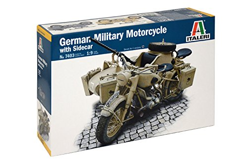Italeri 7403 - german milit.motorcycle with  sidecar model kit  scala 1:9