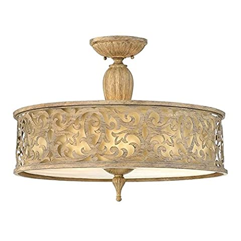 Large Chic Metal Semi-Flush Ceiling Light with Ivory Linen Lamp Shade - 381mm in Height