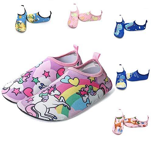 LYworld Niños Niña Zapatos de Agua Descalzo Barefoot Respirable Zapatos de Playa Aire Libre Calcetines de Natación Piscina Surf Yoga Zapatos de niño natación Niños (22/23 EU, Unicornio)
