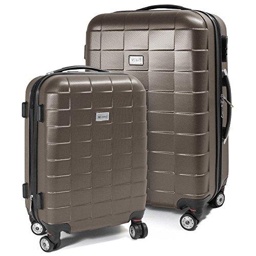 BERWIN® Kofferset M + L 2-teilig Reisekoffer Trolley Hartschalenkoffer ABS Teleskopgriff Modell Squares (Braun)