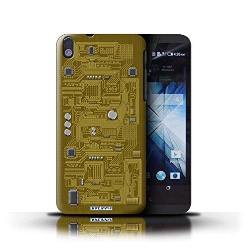Kobalt® Imprimé Etui / Coque pour HTC Desire 816 / Rouge conception / Série Circuit Board Jaune