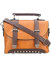 Margaux Tan Pu Leather Sling Bag For Women