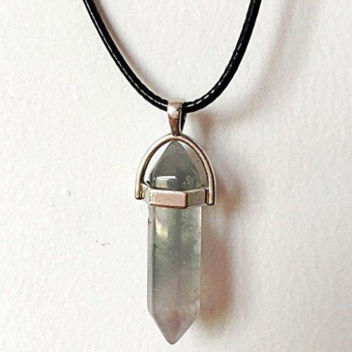ILOVEDIY necklace Ketten-Anhänger Edelstein Stein Kristall Quarz, facettiert, sechsseitige Pyramide, Chakra (Kristall Quarz Chakra Anhänger)