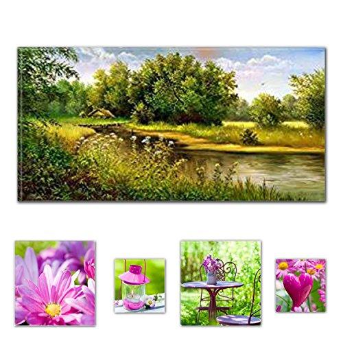 lumiere-eco-art-mural-sur-toile-bundle-charmant-pays-paysage-lac-60-x-1199-cm-pour-decoration-interi