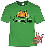 Camper Weihnachts-Geschenk-Set - lustiges Sprüche T-Shirt + Minischürze : Camping Fan -- Campershirt + witziger Scherzartikel Flaschenschürze Gr: S