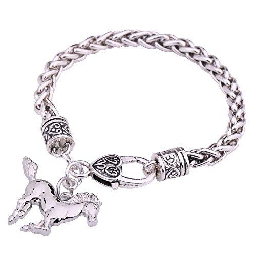 My Shape Weizenketten-Armband mit Pferdeanhänger silberfarben (Cowgirl-schmuck)