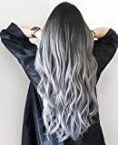 Beauty Makes 20 Zoll Seamless Remi Tape in Extensions Silky Straight Omber Extensions Natural Echthaar Schwarz Fading to Silver 50g/20pcs # 1b/silver