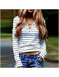 La Camiseta, Oyedens Casual mujer rayada de manga larga camiseta de las tapas de la blusa
