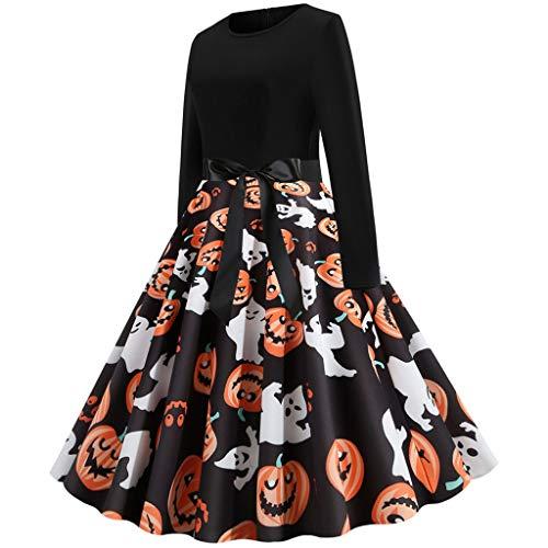 MasteriOne Damen Halloween Retro Lace Vintage Kleid Eine Linie Kürbis Schaukel Kleid Damen Elegante Kleider Frauen Lange Kleider Knielang
