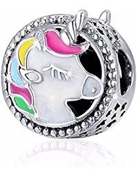 Abalorio de plata de ley 925 con diseño de unicornio esmaltado, para pulsera y collar, ideal para mujeres y niñas