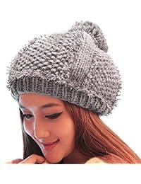 Smarstar Bonnet épais Tricot/Chapeau Femme Hiver / Béret Fille Taille Unique-Gris
