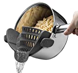 Silicone Food Strainer Snap'n Strainer Colander by MARCHY No-hands No-Fuss Clip-On Strainer. Fits all Pot Sizes
