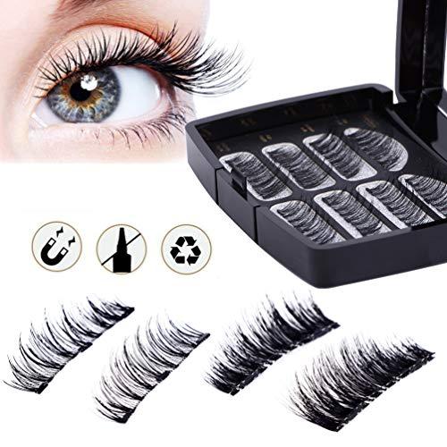 Magnetische Wimpern, 3D Wimpern Set, Wiederverwendbare Künstliche Falsche Wimpern, Dual Magneten Magnetic False Eyelashes + Edelstahl Pinzette, (8 Stücke 2 Paare)