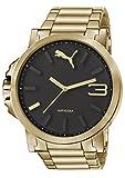 Puma Ultrasize - Reloj análogico de cuarzo con correa de acero inoxidable para hombre, color oro/negro