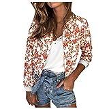 Sunnywill Damen Herbst Skinsuits Outwear Sweatjacke Sweatshirt Kapuzenpullover Winterjacke Windbreaker Retro Floral Zipper Up Jacke Mantel Outwear
