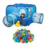 Relaxdays 201 TLG. Bällebad Set, Spielzelt Tunnel für Kinder, 200 Bälle, Hai-Motiv, Pop Up Kinderzelt, HBT 80 x 140 x 140 cm, blau