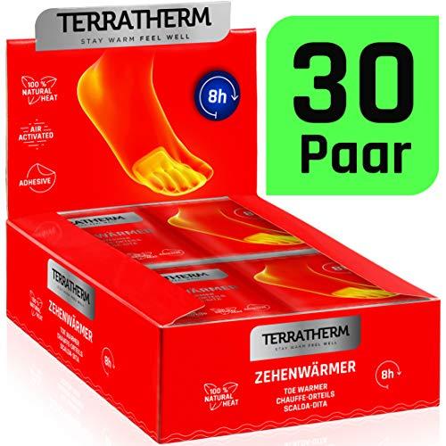 TerraTherm Chauffe Pieds, 8 Heures de Chaleur, chaufferettes pour Orteils, Super Mince et confortablement Doux, Chauffe Pieds Collants et chaufferettes, 30 Paires