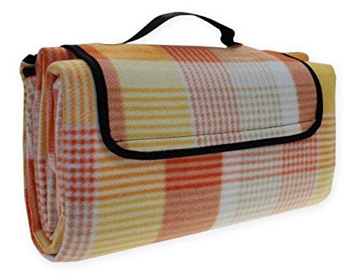 Picknickdecke Karo Strand Decke wasserdicht Picknick 130x170 cm #1527 orange gelb