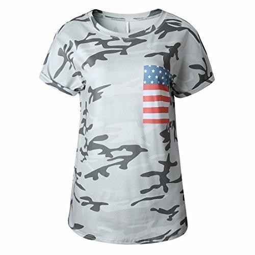 QIYUN.Z Frauen Beiläufige Kurze Hülse T-Shirts Tarnungsblatt Druckte T-Stücke Tarnung