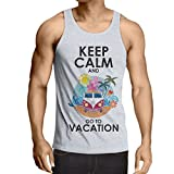 N4442V Camiseta sin Mangas Keep Calm and Go to Vacation (Small Blanco